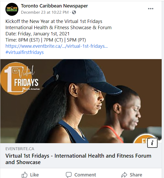 A Facebook post from Toronto Caribbean Newspaper advertising and health and fitness forum on January 1.