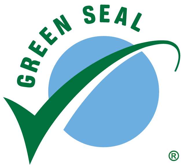 """The Green Seal organization logo: Blue circle with green arrow on top and words """"GREEN SEAL"""" fitted around top of the circle."""