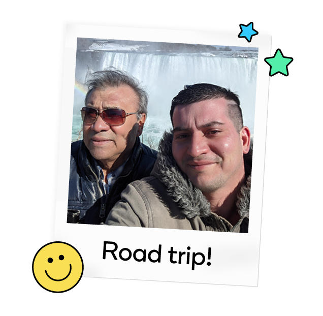 Juan and his dad take regular road trips to Niagara Falls—and Waze helps them get there.