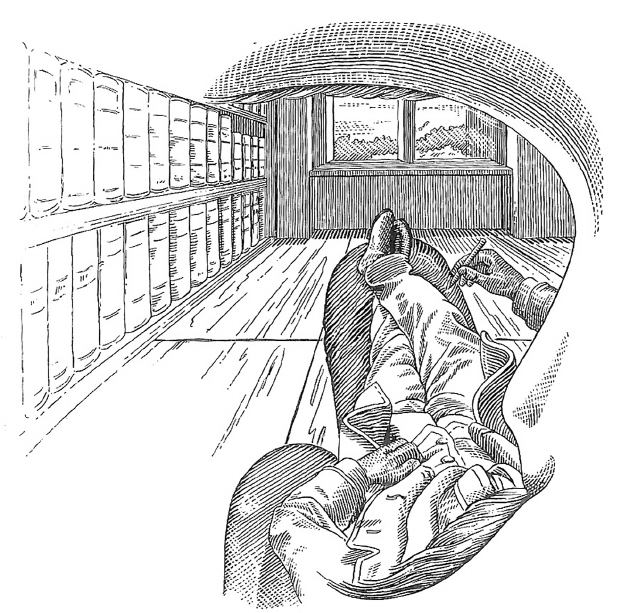 """Ernst Mach's sketch of a room from his perspective (""""Self-Portrait,"""" 1886)"""