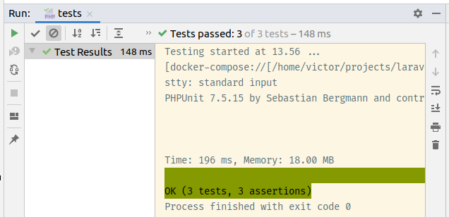 Fig 7. PHPUnit test results in PHPStorm