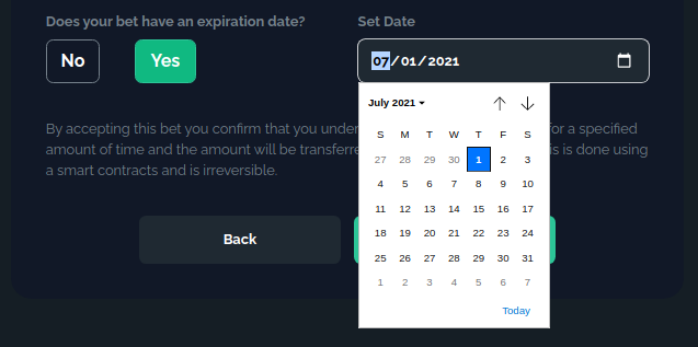 Setting the bet expiry date