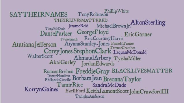 Say Their Names, names of well known cases of unarmed black men, women, and children killed in the US by police since 1998.