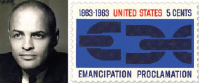 """Image of George Olden, African-American male with a slight smile on his face, no teeth showing. He wears a black and white suit. To the right of the image is a United States postage stamp designed by Olden. The stamp is white, blue and read. White background with a blue image of broken chains. The dates 1863 to 1963 at the top in blue and """"United States"""" in red print typeface. The words """"Emancipation"""" and """"Proclamation"""" are written at the bottom of the stamp in blue."""
