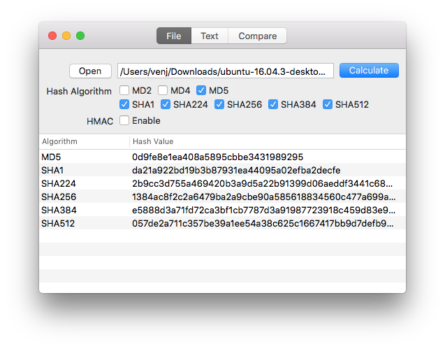 A nice utility for calculate hash (md5, sha1, etc) on macOS