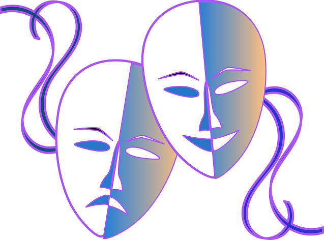 A drawing of two theater masks, smiling and frowning.