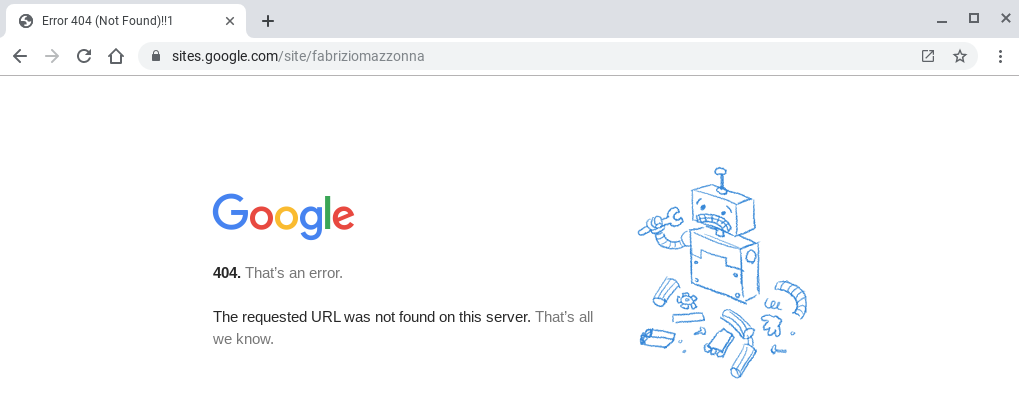 """A recent Google error page using more human and helpful language: """"404. That's an error."""""""