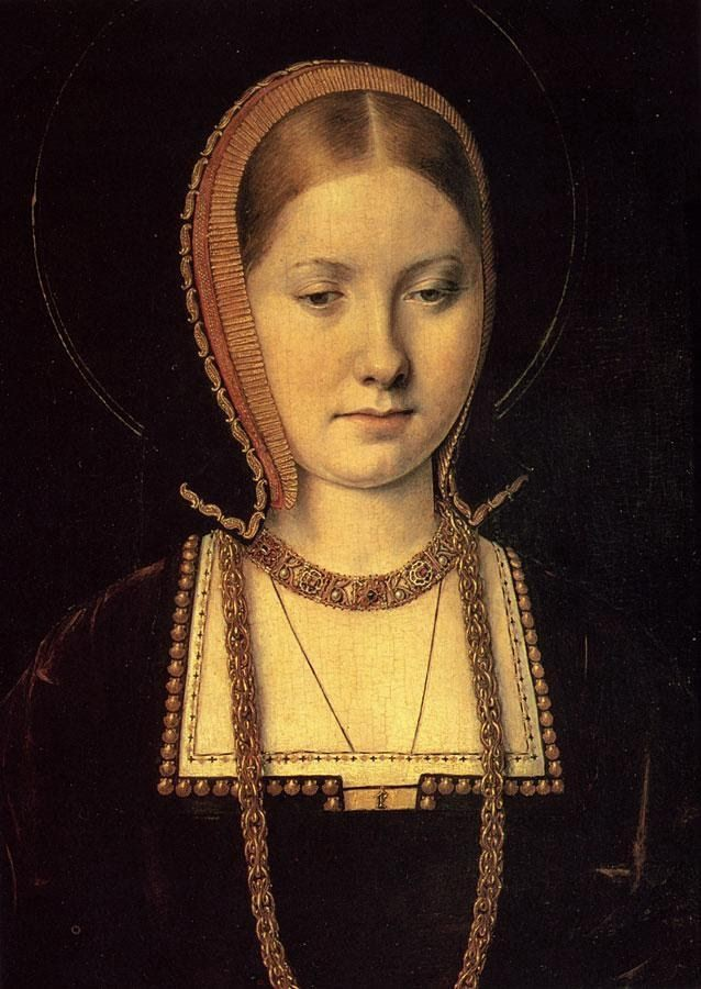 A portrait of a young Catherine of Aragon wearing a dark burgandy dress and hat
