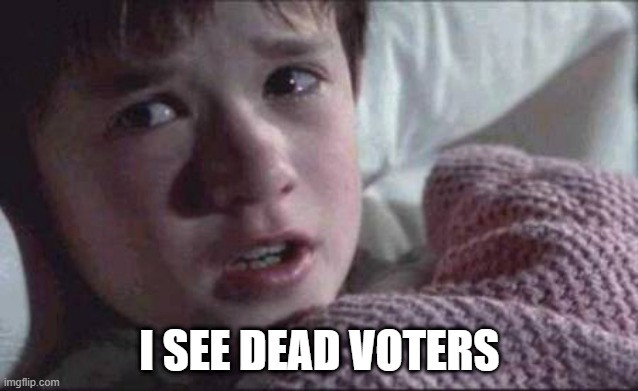 "Meme: Haley Joel Osment in The Sixth Sense: ""I see dead voters."""