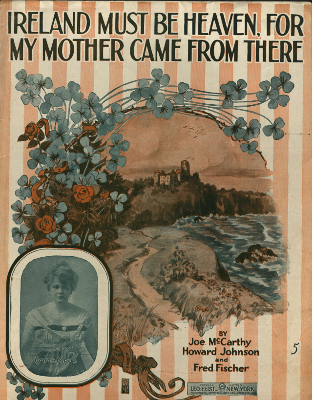 A cover of a music notation booklet with the text: Ireland must be heaven, for my mother came from there, an illustration depicting a road and a small photo of a woman in the left lower corner