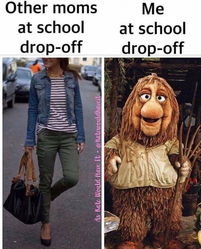 """A meme showing a well-dressed woman on one side, and a literal Fraggle from Fraggle Rock on the other side, with captions """"Other moms at school drop-off"""" and """"Me at school drop-off."""" """"Me"""" is the Fraggle, obviously"""