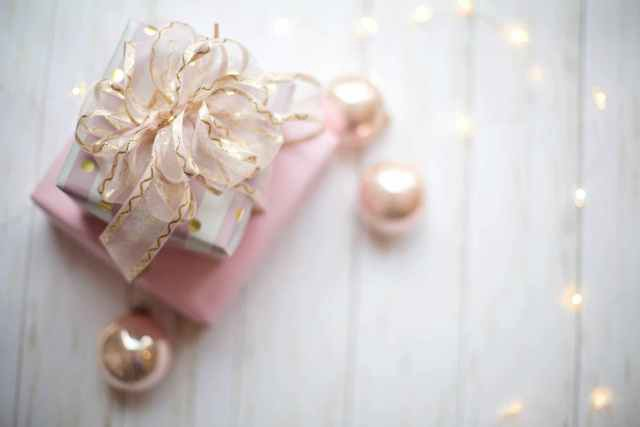 elegant gift wrapped in pink and gold