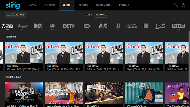 Sling TV guide showing the Comedy Central primetime lineup of The Office marathon