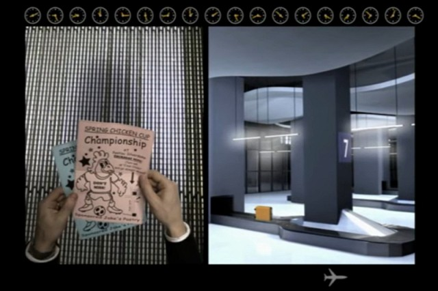 Screenshot from the video of Come Home, Billy Bird, showing football tickets and an abandoned suitcase on the baggage carousel