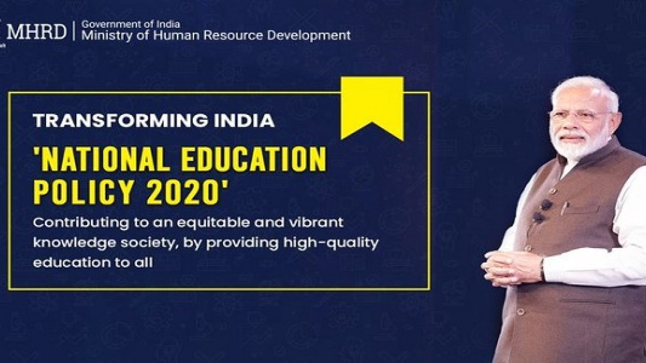 The image shows our prime minister and the declaration of National Education Policy 2020 focusing on what it aims at.