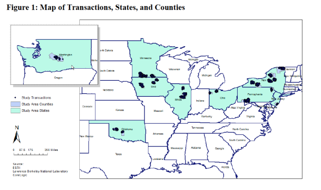 Map of geographic dispersal of real estate transactions
