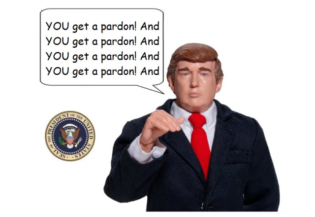 "Figurine of president (Trump?) saying ""You get a pardon! And you get a pardon!"" and so on."