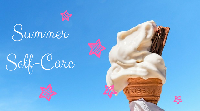 'Summer Self-Care' with pink stars and an ice-cream cone
