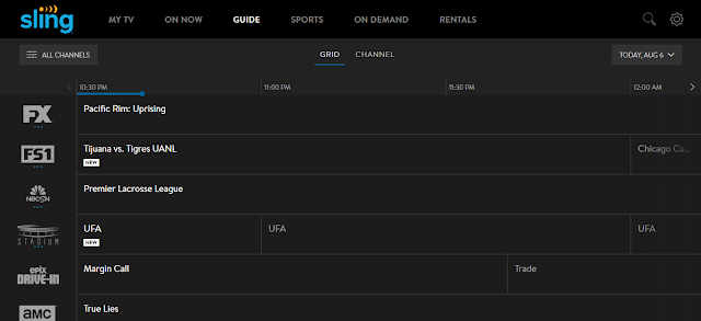 An Example of a Live TV Service's Guide, Sling TV