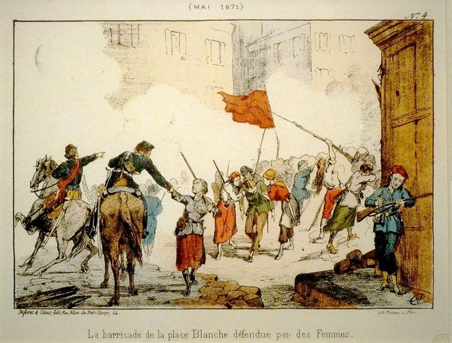 The Women of Paris on the barricades at Place Blanche defend the Commune.