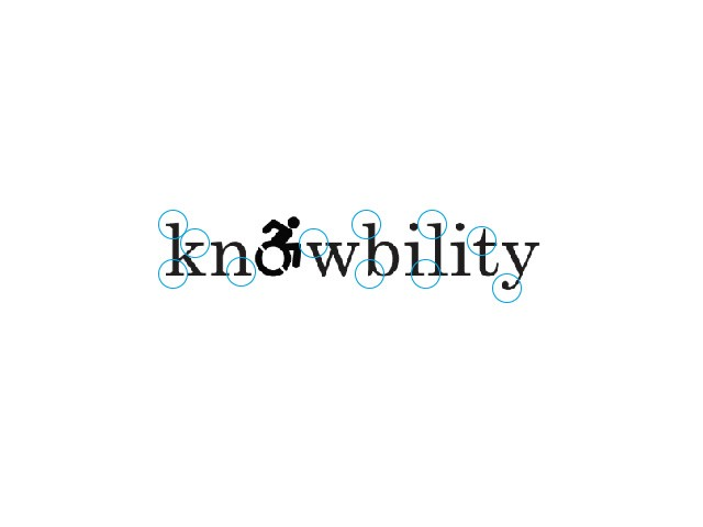 Knowbility logo altered to emphasize the strong serifs in the font