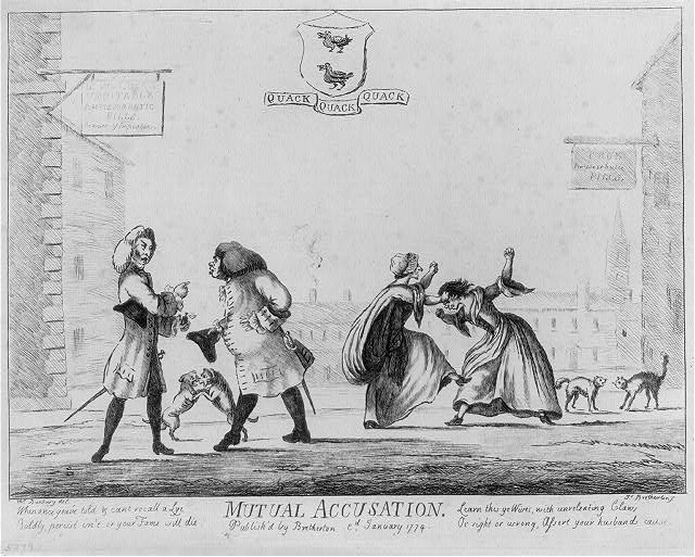 19th Century prints depicting people arguing
