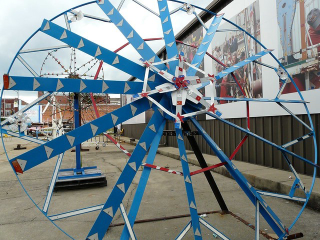 A Vollis Simpson Whirligig after restoration in Wilson, North Carolina before permanent installation in the Whirligig Park