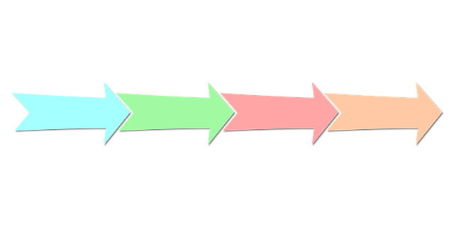 Four arrows, each with a different color, in a line. The arrows are overlapping. Meant to indicate a process with a sequential order.