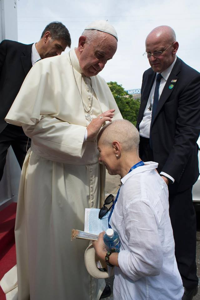 Martha Serra Mohr being blessed by Pope Francis on a Catholic pilgrimage after receiving a phone call from Joe Biden