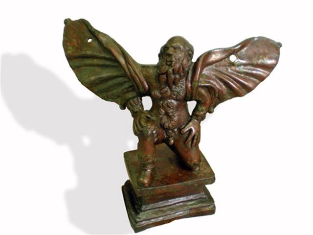 A bronze figurine of Daedalus. Who landed safely.