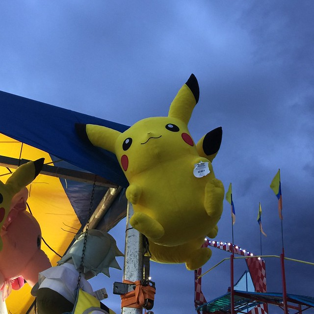 An inflatable Pikachu at the 2019 New Mexico State Fair