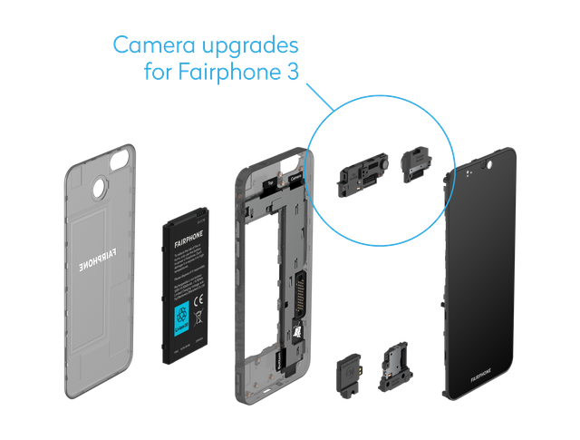 Exploded view of the Fairphone 3+ with new camera module