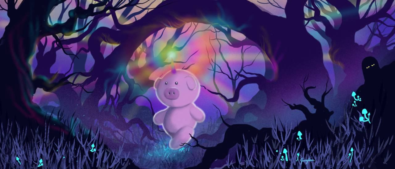 A magical pig walking into the dark forest, protected by a rainbow horn.