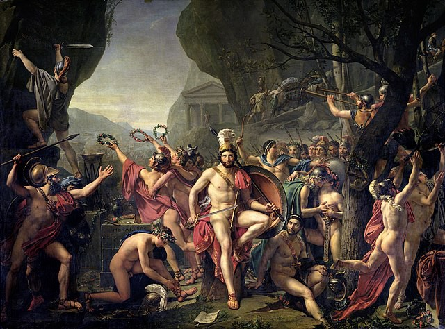 A painting of King Leonidas at the Battle of Thermopylae