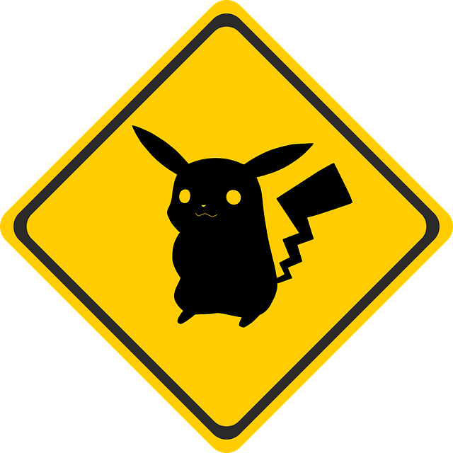 Pokemon crossing sign — with Pikachu on it.