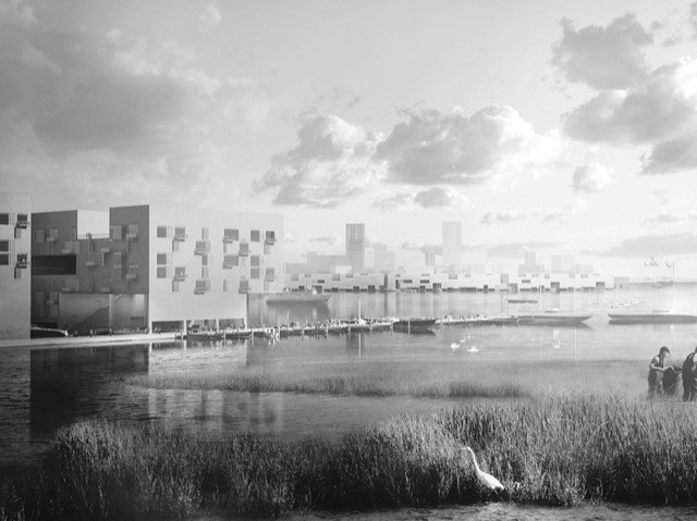 Black and white image of what a waterfront would look like in 2067