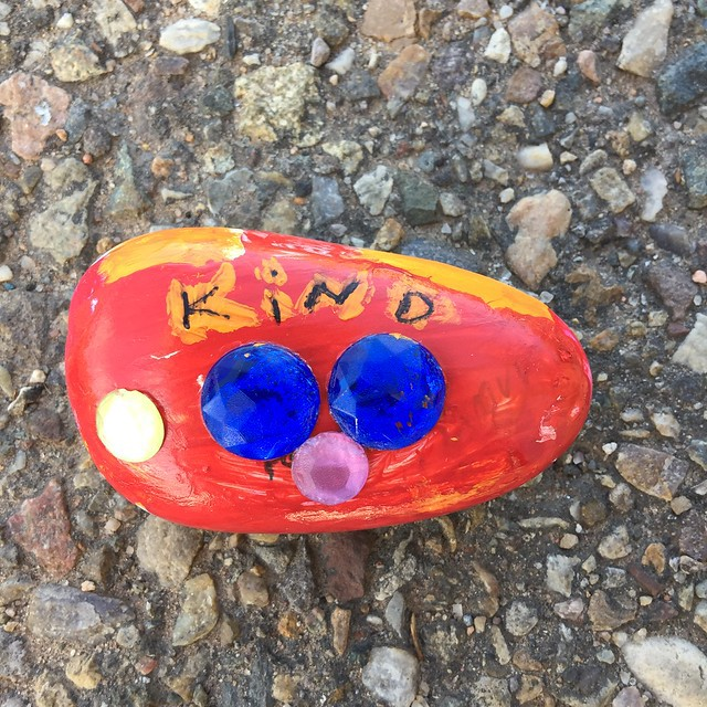 A rock from the #KindessRocksProject that I found along the Alameda Drain in Albuquerque, New Mexico while out for a walk