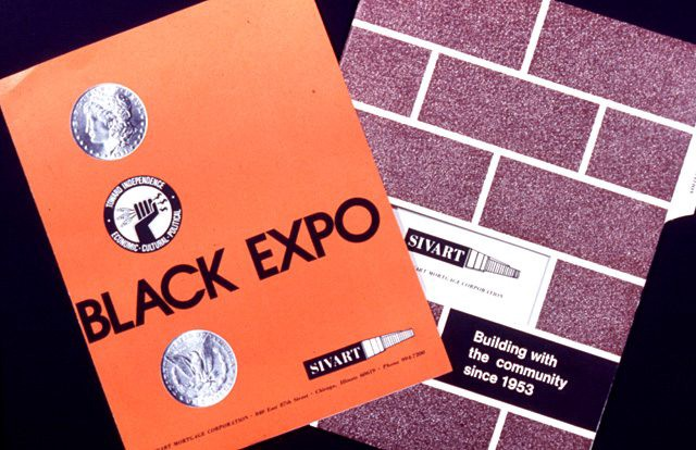 """Image of branding materials by Leroy Winbush. To the left is an orange brochure or pamphlet with """"Black Expo"""" written in bold typeface. Two silver coins above and below the typeface. Another round symbol or logo with a black fist, black edges with white writing. The bottom right has an image of a black pen with white tip. There is white writing on the black pen. Small printed text at the bottom. To the right is a purple booklet with a brickwork design and the words written in black and white."""