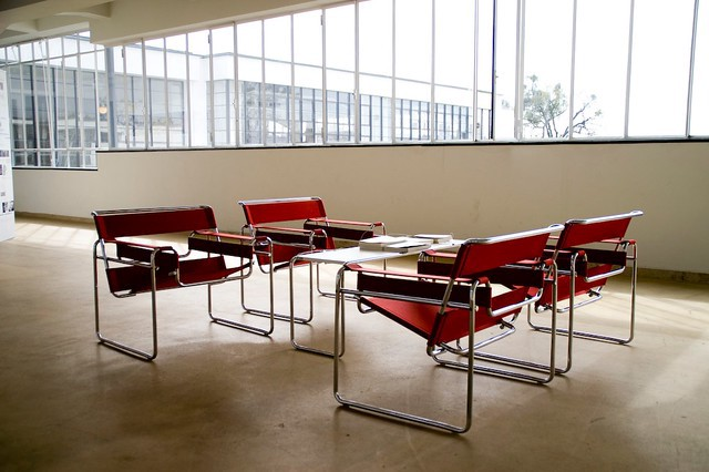 Four Wassily chairs sit in a room at the Bauhaus building in Dessau.