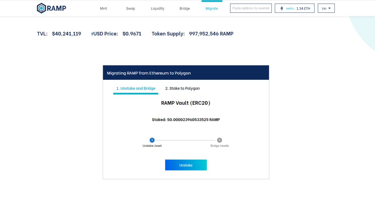 1*Ib8 Bcntu5b Pv8khnopcw User Guide to Migrate Staked RAMP from Ethereum Vault to Polygon Vault