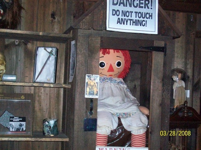 Annabelle the doll that haunts in the occult museum.