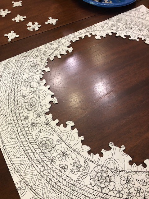 Incomplete puzzle in black and white