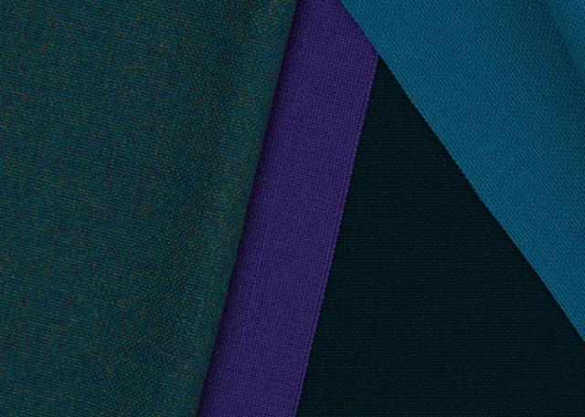 Close up of Camira's Advantage fabric in four colourways.