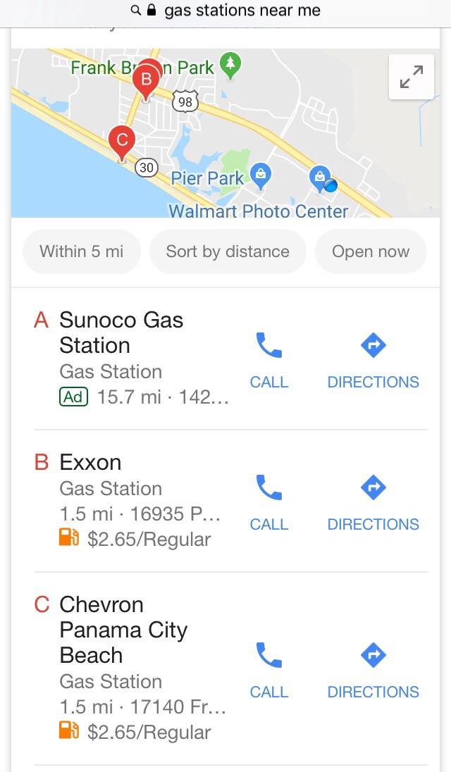gas stations near me open now