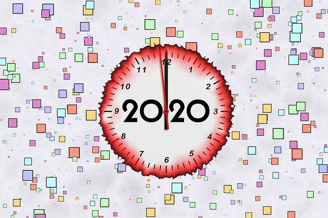 "Image of clock stating ""2020"""