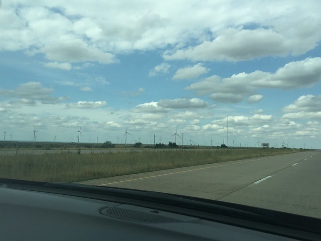 Windmills in Texas along Interstate 40 near historic Route 66