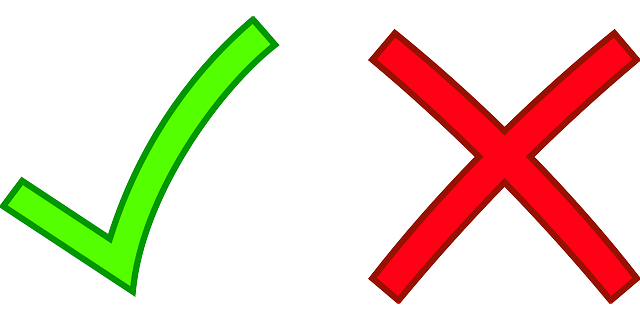 """Illustration of green checkmark and red """"x"""""""