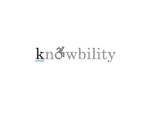 "Knowbility logo altered to emphasize the lowercase ""k"""