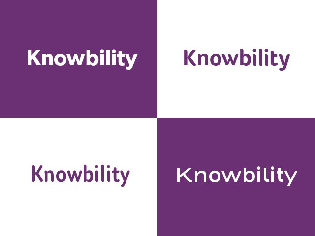 Four variations of the Knowbility logo in different typefaces